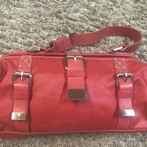 Cynthia Rowley Red barrel buckled handbag Leather